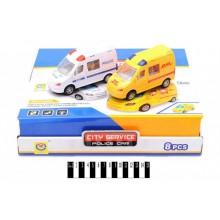 Автобус Поліція\Швидка з муз та світ ефект коробка 8 шт 2269